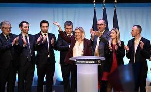 Marine Le Pen à Paris, à la maison de la chimie pour la convention municipale du Rassemblement national le 12 janvier 2019.