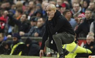 Pep Guardiola lors du derby entre Manchester City et Manchester United, le 8 mars 2020.