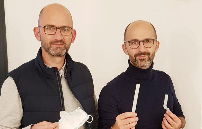 Les frères Johan et Hugo Lejeune ont inventé une languette appelée Sanbué qui évite la buée sur les lunettes lors du port du masque.