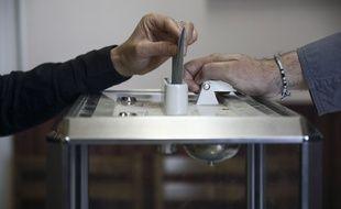 Une urne dans un bureau de vote de Saint Vincent d'Olargues (Hérault) lors des élections européennes (illustration).