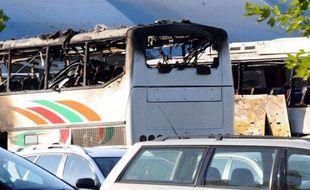 Bus cible d'un attentat à Bourgas, en Bulgarie, le 18 juillet 2012.