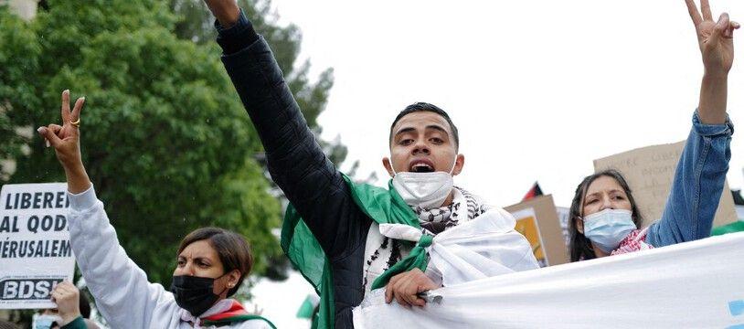 Des soutiens au peuple palestinien manifestent à Montpellier, le 15 mai 2021.