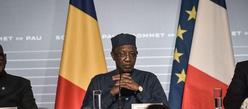 Le président tchadien Idriss Deby lors du sommet sur le G5 Sahel, le 13 janvier 2020 à Pau.