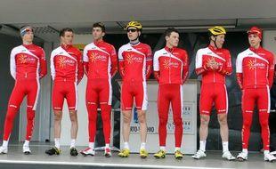 Les coureurs de l'équipe Cofidis, lors de la présentation du Critérium International, le 23 mars 2013.