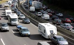 Des embouteillages sur l'A6 avant le Tunnel de Fourvière, à Lyon.