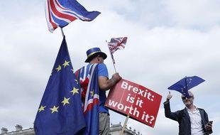 Un partisan du «Stopping Brexit, photographié devant Westminster, à Londres le Brexit, le 10 septembre 2018.