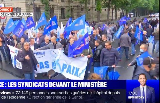 Troisième extrait de la couverture de la manifestation policière du 12 juin à Paris sur BFMTV.