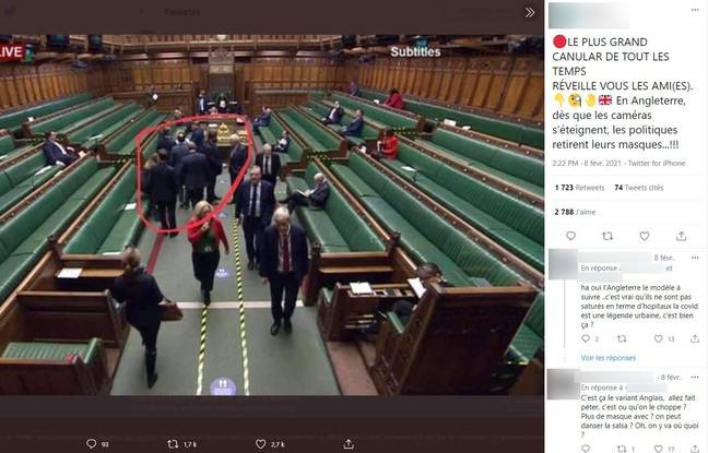 On December 1, when this screenshot was taken, the wearing of a mask was not compulsory in the House of Commons.