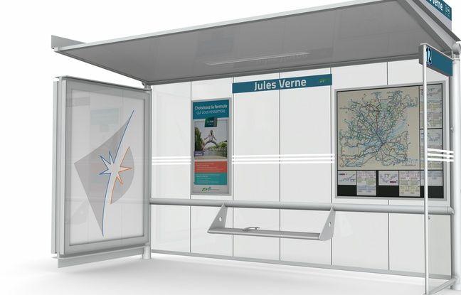 Un exemple de nouvel abribus installé par JCDecaux à Nantes.