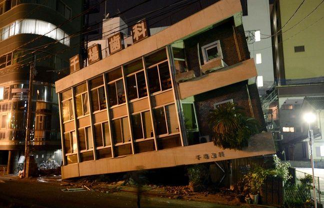 Un cabinet dentaire s'est en partie effondré après un séisme à Kumamoto, samedi 16 avril 2016.