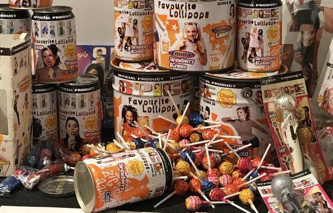 Les sucettes Chupa Chups Spice Girls étaient vendues dans des seaux ou de grandes canettes à l'image du groupe.