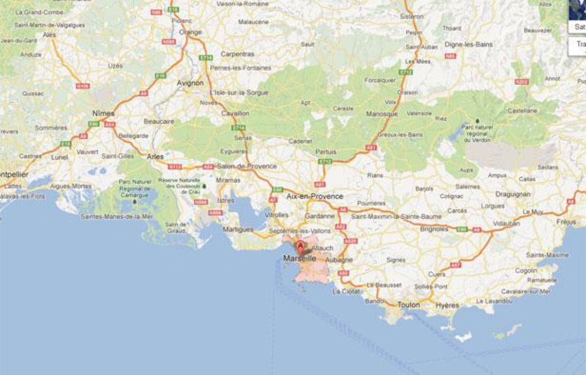Google map de Marseille réalisée le 22 novembre 2012. – 20minutes.fr