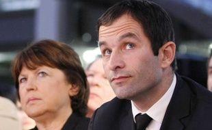Martine Aubry et Benoît Hamon à la Convention Nationale du Parti Socialiste à Paris, en décembre 2010.