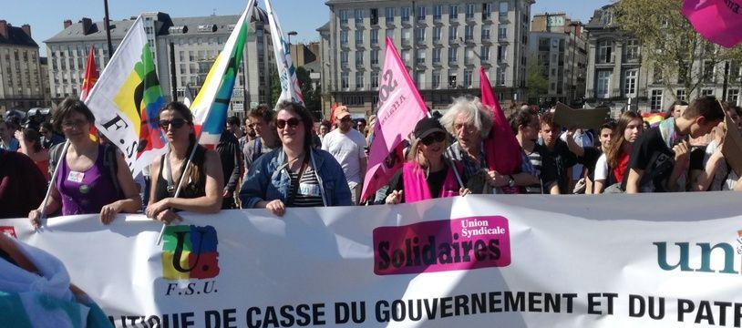 En tête de la manifestation du 19 avril à Nantes.