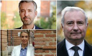 Antoine Maurice (Archipel Citoyen, en haut) et Nadia Pellefigue (PS, PCF, PRG, en bas) et Jean-Luc Moudenc (LR, soutenu npar LREM, à droite).