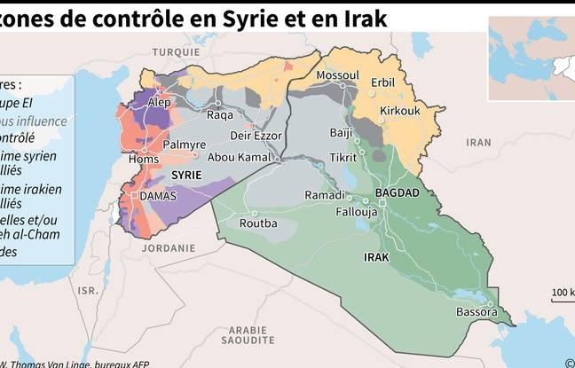 Carte de la situation en Syrie et en Irak.