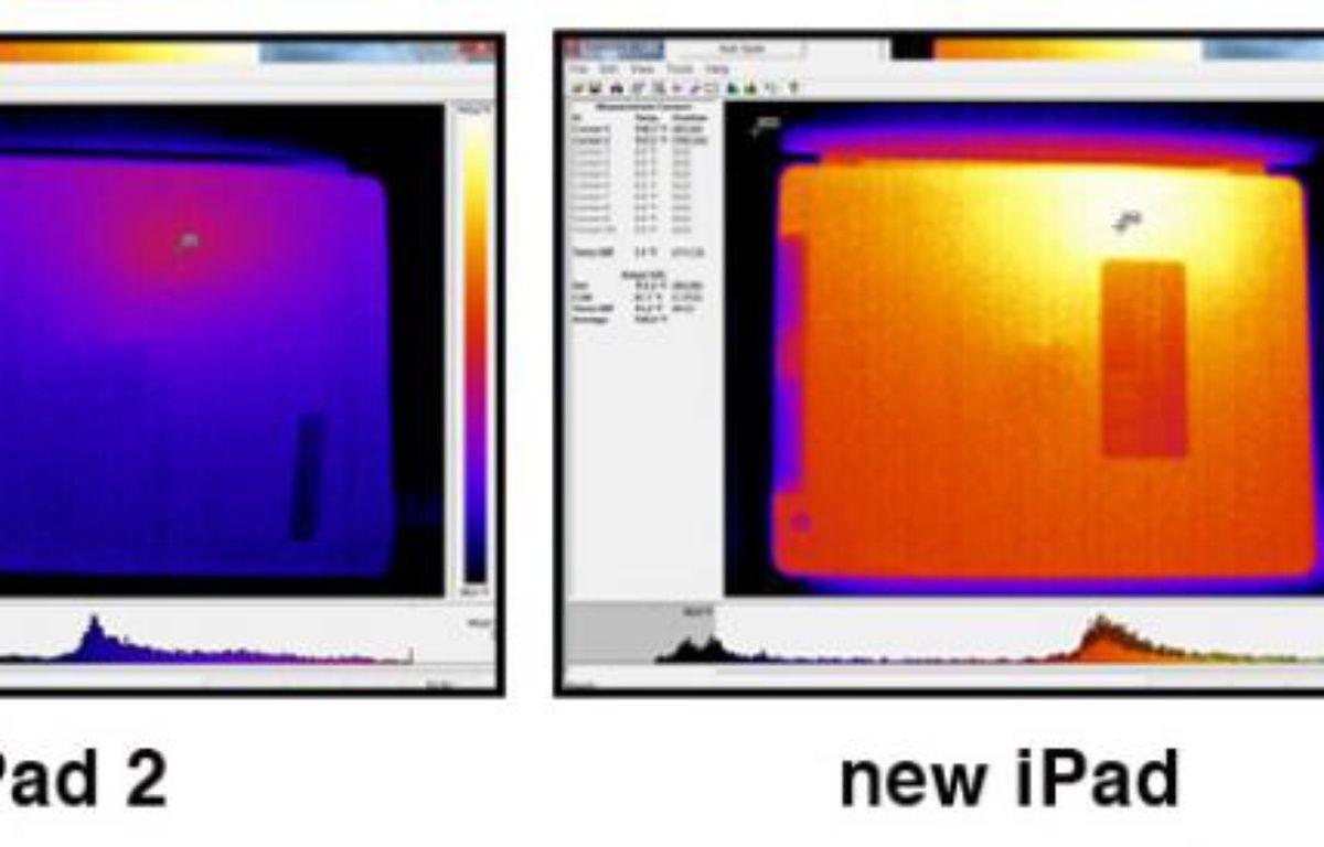 Images thermiques de l'iPad 2 (39,4°C maximum) et du nouvel iPad (46,6°C), réalisées par Consumer Reports. – CONSUMER REPORTS
