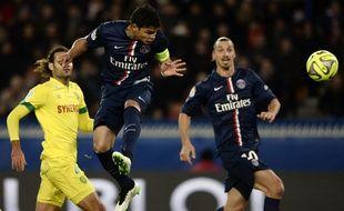 Le défenseur du PSG Thiago Silva contre Nantes, le 6 décembre 2014 au Parc des Princes.