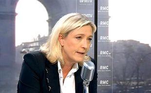 Capture d'écran BFMTV de Marine Le Pen, présidente du FN, le 29 mars 2013.