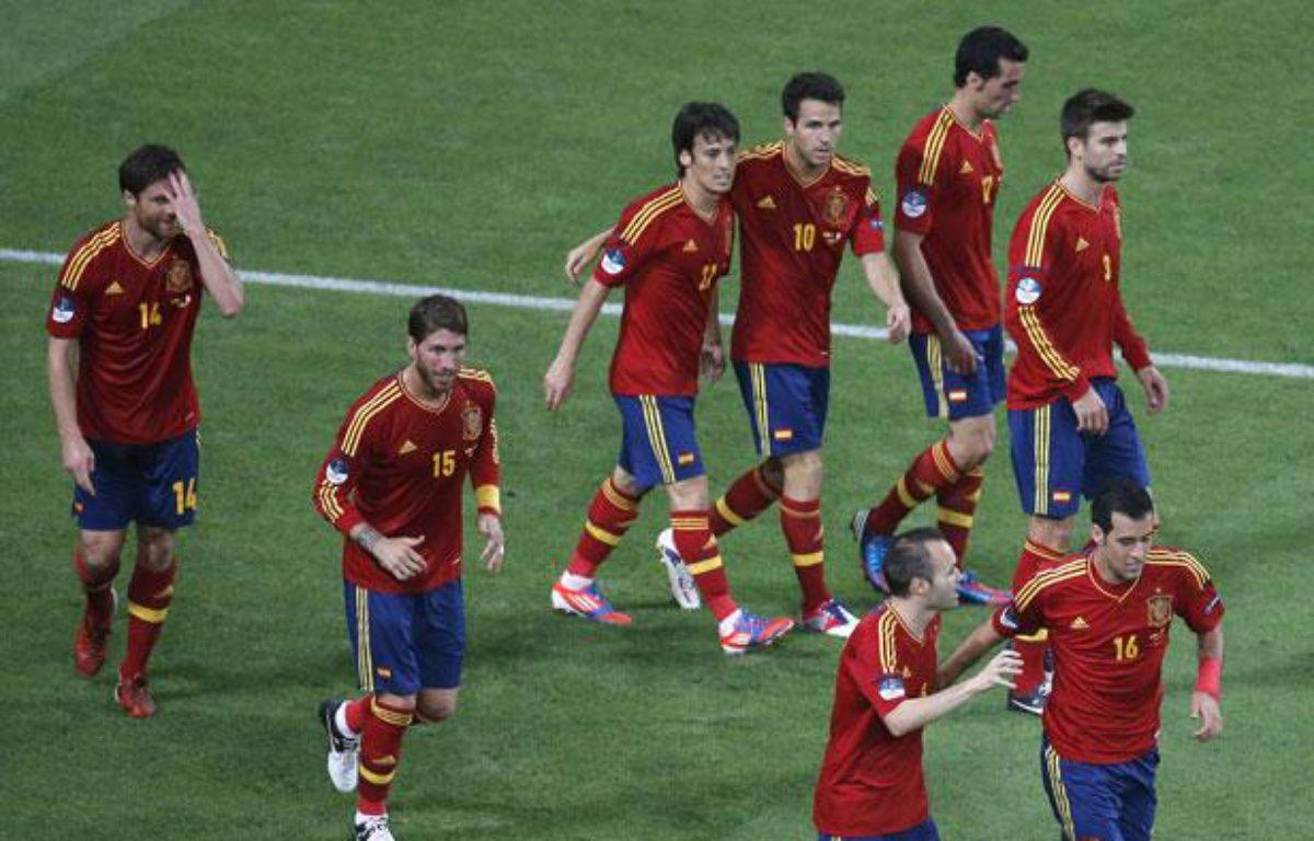 Les joueurs espagnols, lors de leur victoire à l'Euro contre la France, le 23 juin 2012 à Donetsk. – Y.Herman/REUTERS