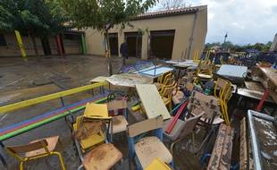 L'école de Conques-sur-Orbiel, au moment de la crue d'octobre 2018.