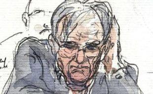 Croquis de l'ex-médecin allemand Dieter Krombach, jugé par la cour  d'assises de Paris pour le meurtre de sa belle-fille Kalinka Bamberski.  Le 21 octobre 2011.