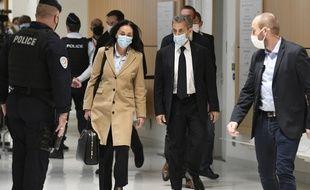 """Paris, le 23 Novembre 2020. Nicolas Sarkozy et son avocate, Jacqueline Laffont, arrivent au tribunal judiciaire de Paris où il est jugé dans l'affaire dite des """"écoutes de Paul Bismuth""""."""
