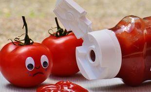 Illustration d'une bouteille de ketchup.