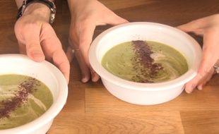 La soupe froide de courgettes au lait de coco et sumac par Gratinez.