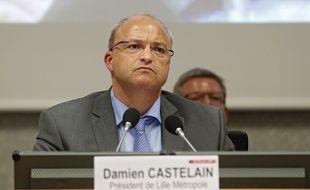 Lille, le 12 mai 2014. Seance de nomination des vices-presidents a Lille Metropole Communaute Urbaine (LMCU). Ici le president Damien Castelain.