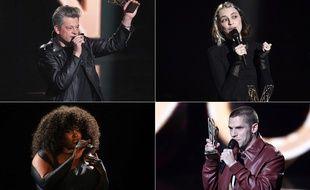 Benjamin Biolay, Pomme, Yseult et Hervé aux 36e Victoires de la musique, le 12 février 2021.