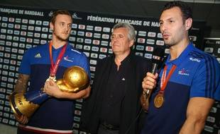 Valentin Porte, Claude Onesta et Jerome Fernandez. Credit:LaurentVu/SIPA