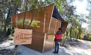 La cabine de toilette sèche d'Ecosec, à Montpellier.