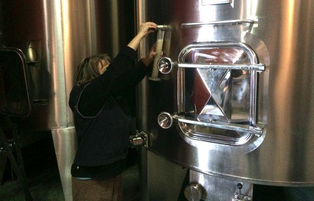 Karine Gardé vérifie quotidiennement la densité et la température du vin en cuve.