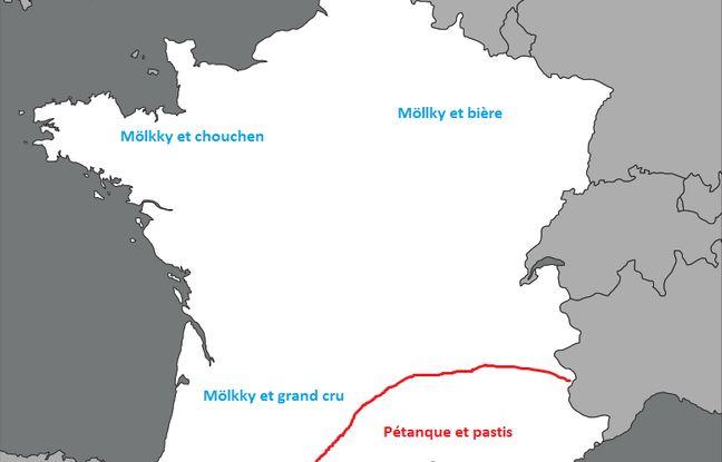 Répartition (très cliché) du Mölkky et de la pétanque sur le territoire