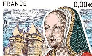 Le timbre Anne de Bretagne a été édité à 1,5 million d'exemplaires.