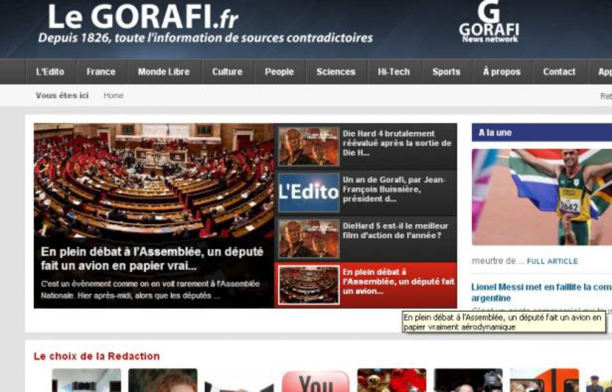 Page d'accueil du site d'information parodique le Gorafi, le 20 février 2013. – Le Gorafi