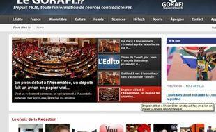 Page d'accueil du site d'information parodique le Gorafi, le 20 février 2013.