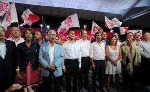 Manuel Valls, Claude Bartolone et Jean-Christophe Cambadélis le dimanche 30 août, en clôture de l'université d'été du PS de La Rochelle.