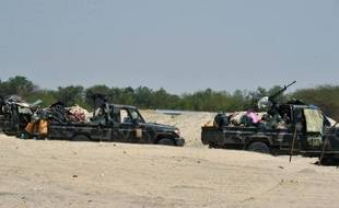 Des véhicules des armées tchadienne et nigérienne le 25 mai 2015 à Malam Fatori, dans le nord du Nigeria, où elles apportent leur soutien à l'armée nigériane dans sa lutte contre Boko Haram