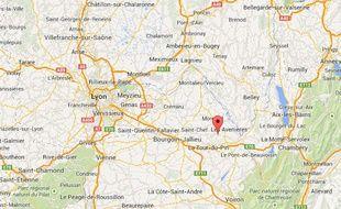 Capture d'écran Google map de Domolieu, en Isère.