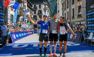 Le podium de l'UTMB a été 100% français ce samedi avec, de gauche à droite, Aurélien Dunand-Pallaz, François D'Haene, et Mathieu Blanchard.