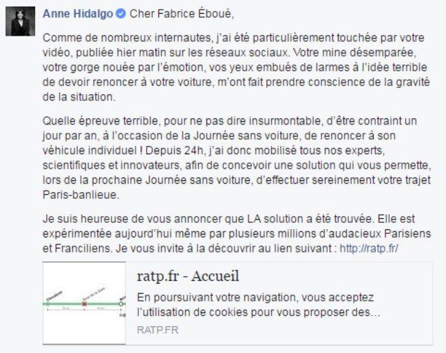 Capture d'écran de la réponse d'Anne Hidalgo à Fabrice Eboué.