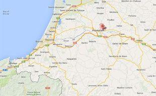 Capture d'écran Google map de Cauneille, près de Dax.