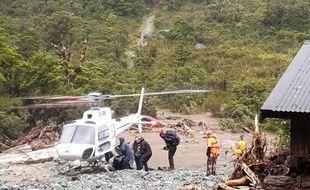 Les secours à la rescousse de randonneurs bloqués sur l'Ile du Sud, en Nouvelle-Zelande, le 5 février 2020.