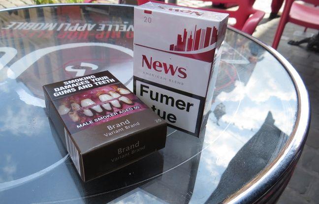 A Lille, le 27 mai 2015 - Illustration du paquet neutre pour les cigarettes  qui doit entrer en vigueur en mai 2016.
