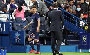 Lionel Messi lors de son remplacement face à l'OL, le 19 septembre 2021.