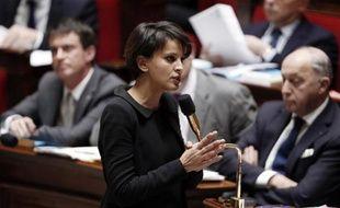 La ministre de l'Education, Najat Vallaud-Belkacem, le 14 janvier 2015, devant l'Assemblée nationale