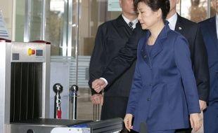 L'ex-présidente Park Geun-Hye lors de son audition par la justice, le 30 mars 2017.