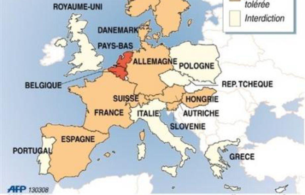 En Europe, seuls les Pays-Bas et la Belgique ont formellement légalisé l'euthanasie, sous de strictes conditions. Le Luxembourg a adopté le 20 février une loi dans le même sens qui devrait passer en deuxième lecture avant l'été. – Patrice Deré Jud AFP/Infographie/Archives